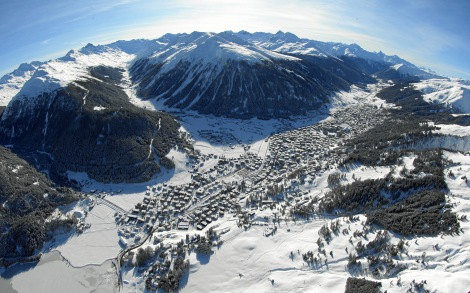Aerial view of Davos, host city of the World Economic Forum Annual Meeting 2012