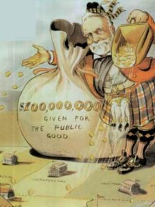 Andrew Carnegie's philanthropy. Puck magazine cartoon by Louis Dalrymple, 1903