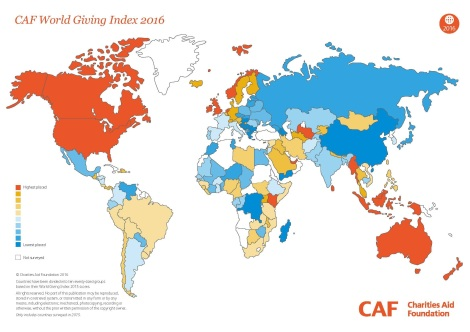 World Giving Index, 2016, giving, charity, philanthropy, volunteering, generosity, data